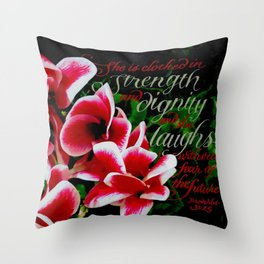 Clothed in Strength Throw Pillow