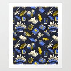 Spellbooks, blue Art Print