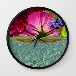 Kissing Trout with Water and Flower Wall Clock