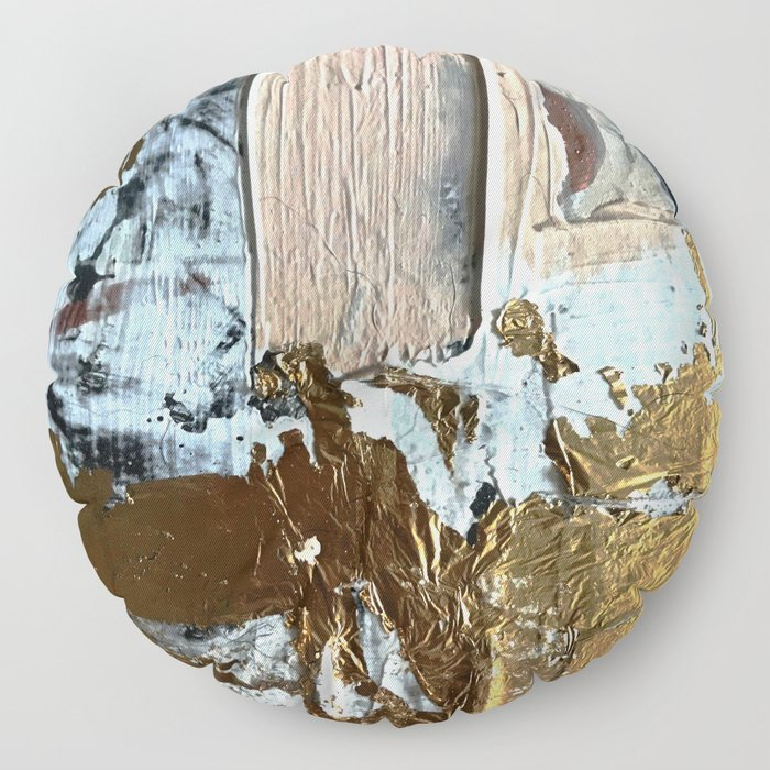 Compelling: a minimal, abstract mixed-media piece in gold, pink, black and white by Alyssa Hamilton Floor Pillow