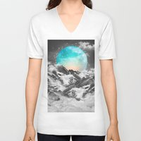 mountains V-neck T-shirts featuring It Seemed To Chase the Darkness Away by soaring anchor designs