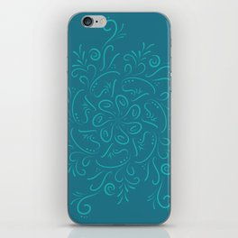 Teal mandala iPhone Skin