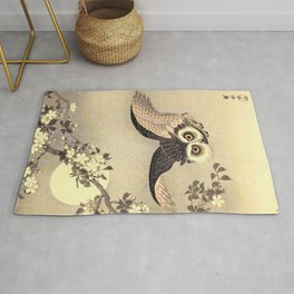 Koson Ohara - Scops Owl in Flight, Cherry Blossoms and Full Moon - Japanese Vintage Woodblock Rug