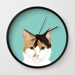 Calico Cat - Cute cat black, white, tan, orange tabby cat, cute kitten Wall Clock