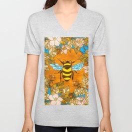 Bumblebee In Wild Rose Wreath Unisex V-Neck