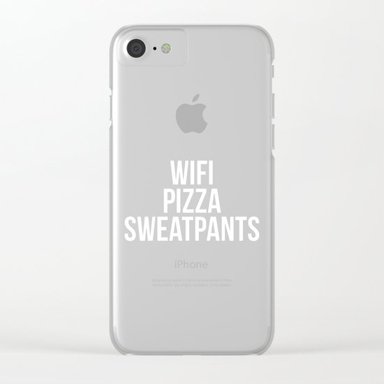 WiFi Pizza Sweatpants Funny Quote Clear iPhone Case