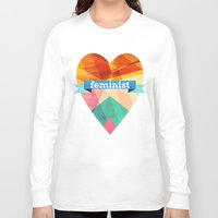 feminist Long Sleeve T-shirts featuring Feminist by The Pairabirds