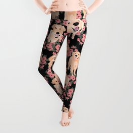Golden Retrievers and flowers on Black Leggings