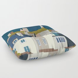 france houses abstract art Floor Pillow