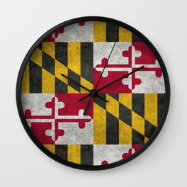 State flag of Flag of Maryland, Vintage retro style Wall Clock