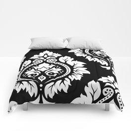 Decorative Damask Art I White on Black Comforters