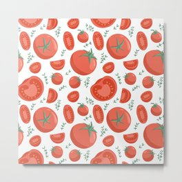 Tomatoes seamless pattern in cartoon style. Healthy organic cherries with rosemary and tomato slices. Metal Print
