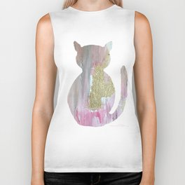 Gold and pink cat Biker Tank