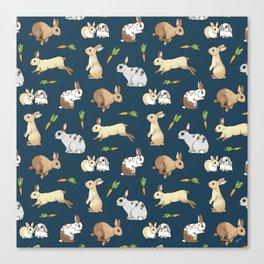 Rabbits on navy background Canvas Print