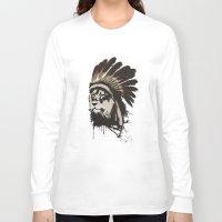 headdress Long Sleeve T-shirts featuring Lion Headdress by Alyn Spiller