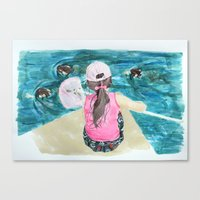 mermaids Canvas Prints featuring Mermaids by Condor