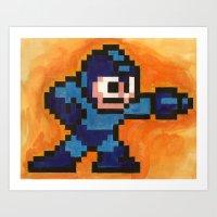 mega man Art Prints featuring Mega Man by Alison Hinch