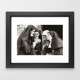 Nuns Smoking Framed Art Print