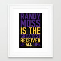 randy c Framed Art Prints featuring Randy Moss by Couch Coaches