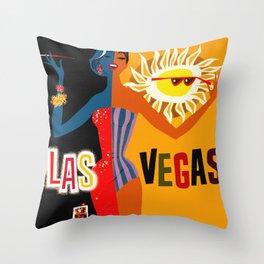 Vintage Las Vegas Travel Poster Throw Pillow