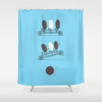 ilovedoodle Shower Curtains featuring Accidentally Tasty by I Love Doodle