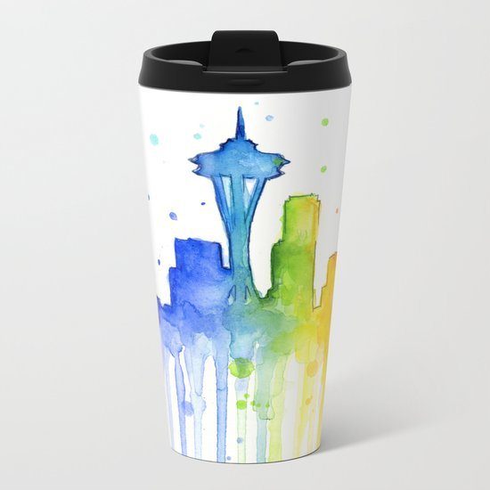 Seattle Skyline Rainbow Watercolor Metal Travel Mug