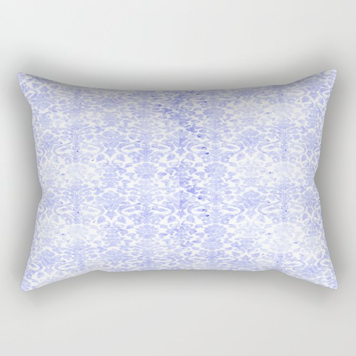 Periwinkle Damask Rectangular Pillow