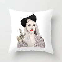 bow Throw Pillows featuring Bow by Melania B
