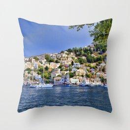 Symi island in Greece. Throw Pillow