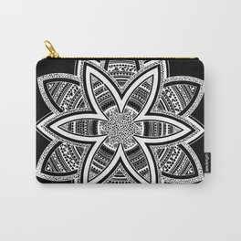 wholeness white mandala on black Carry-All Pouch