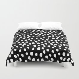Handdrawn drops and dots on black - Mix & Match with Simplicty of life Duvet Cover