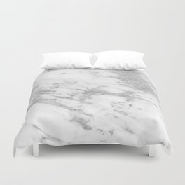 Marble - Silver and White Marble Pattern Duvet Cover