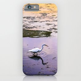 Great egret in marsh at sunset iPhone Case