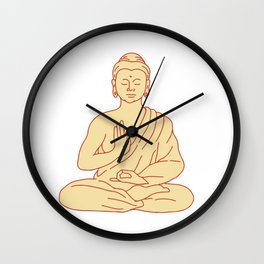 Gautama Buddha Sitting Lotus Position Drawing Wall Clock