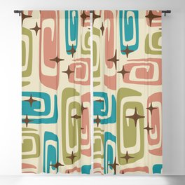 Mid Century Modern Cosmic Galaxies 436 Olive Blue and Dusty Rose Blackout Curtain