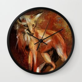 Abstract Red Fox Wall Clock
