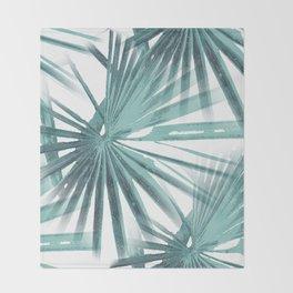 Teal Aqua Tropical Beach Palm Fan Vector Throw Blanket