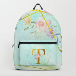 Gold Foil Alphabet Letter T Initials Monogram Frame with a Gold Geometric Wreath Backpack