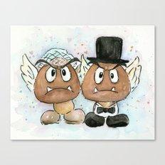 Goombas Bride and Groom, Nintendo Geek Wedding Canvas Print