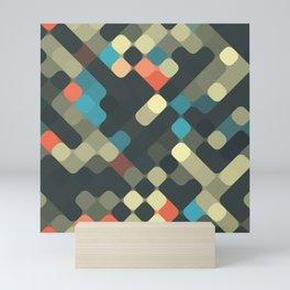 Funky Hip Round Squares Mosaic Pattern Mini Art Print