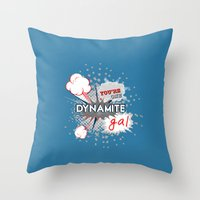 wreck it ralph Throw Pillows featuring You're one dynamite Gal.. funny disney pixar.. wreck it ralph quote by studiomarshallarts