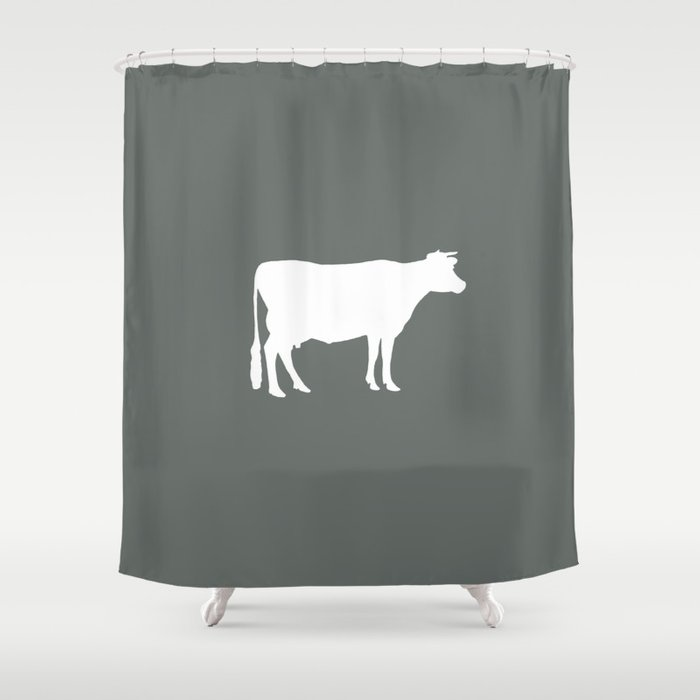 Cow Dark Grey Shower Curtain By Jsdavies