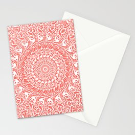 Coral and White Mandala Stationery Cards