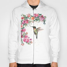 Hummingbird and Flowers Watercolor Animals Hoody