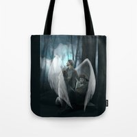 verse Tote Bags featuring Reverse!verse Purgatory by Justyna Rerak