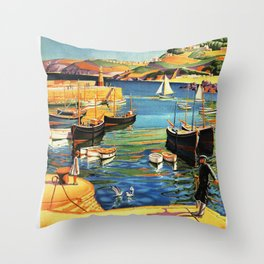 Vintage St. Ives Cornwall England Travel Throw Pillow