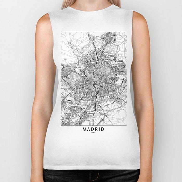 Madrid White Map Biker Tank