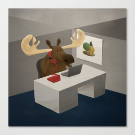 Maurice, the moose who wanted to work in an office Canvas Print