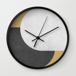 Halfmoon Colorblock - Black White on Gold Wall Clock
