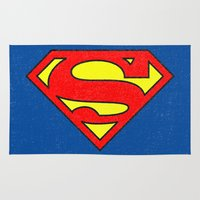 superman Area & Throw Rugs featuring Superman by Alisa Galitsyna